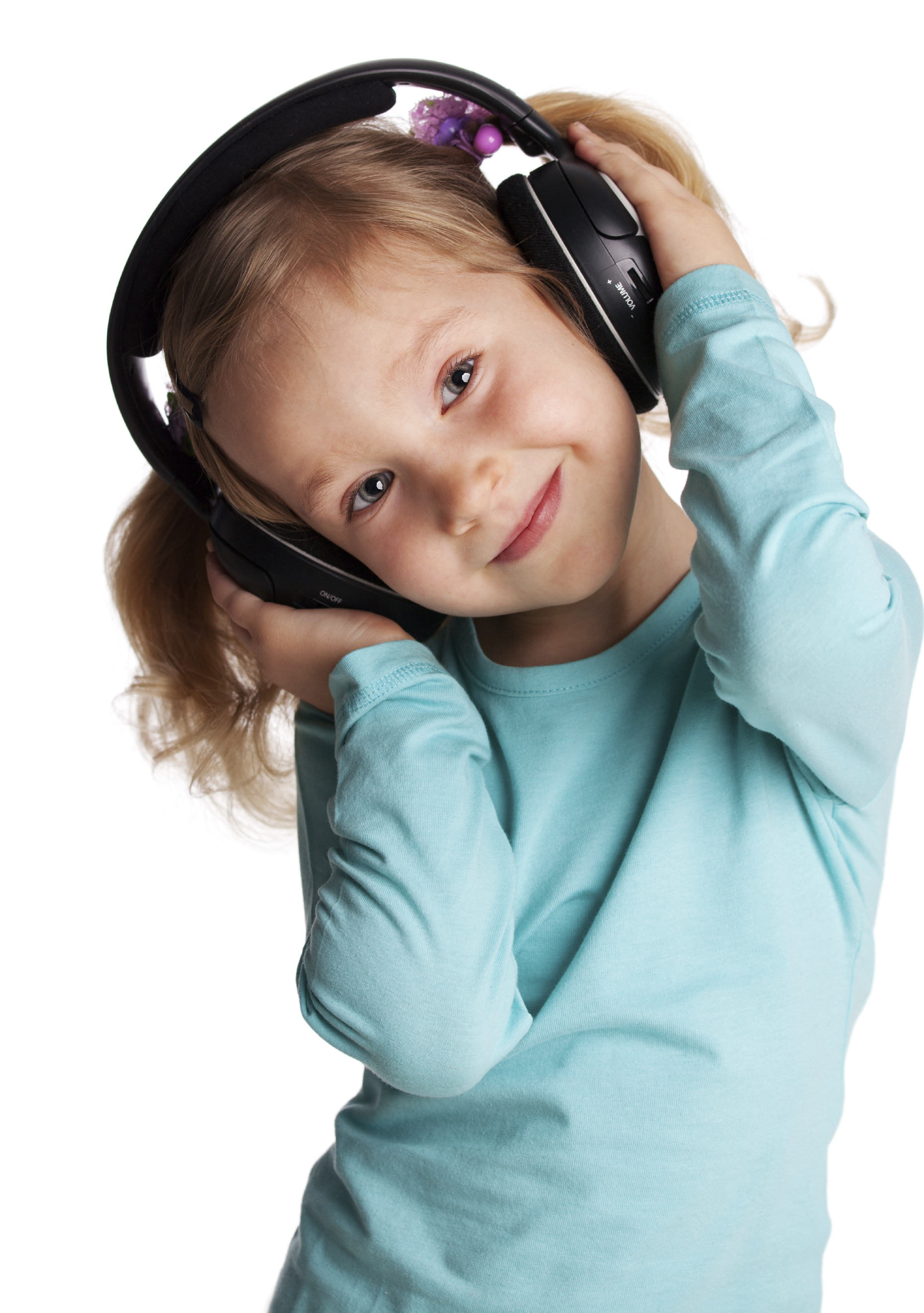 Little girl in headphones